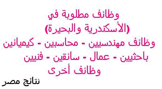 الوظائف المطلوبة في شركة مياة الشرب بالأسكندرية الآن