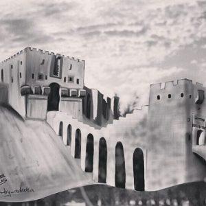 طريقة رسم قلعة حلب