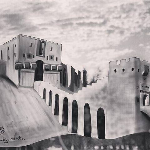 طريقة رسم قلعة حلب بالقلم الرصاص